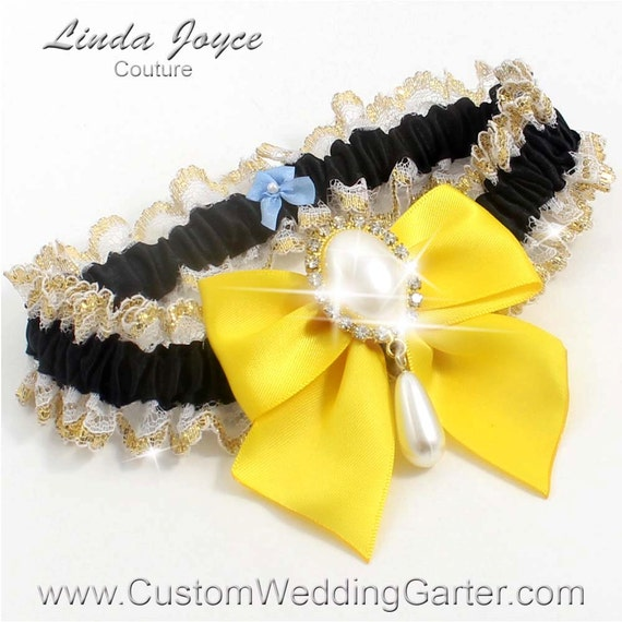 Items Similar To Black And Yellow WEDDING GARTER Pearl