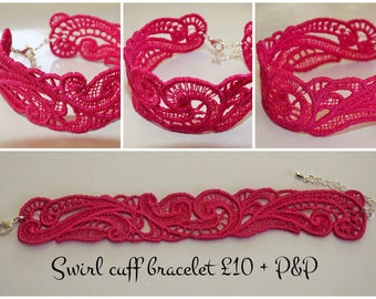 Swirl, freestanding lace, cuff bracelet, FSL, ITH, Embroidered, any colour.
