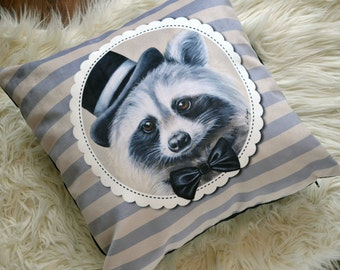 Mr. Racoon cushion cover -  mr. racoon pillow- animal art -kids pillow-children cushion-animal cushion - kids decor - racoon with tie