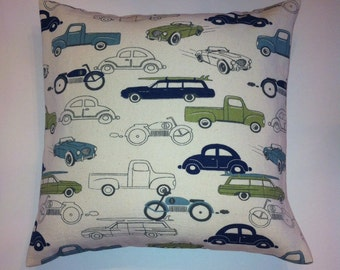 """Retro Rides Themed Pillow Cover. 14"""" Pillow Cover."""