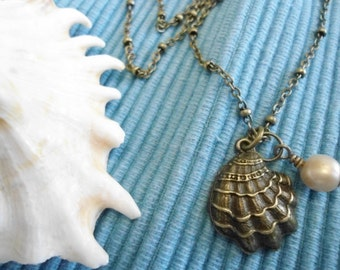 Oyster shell and natural beige freshwater pearl necklace antique brass necklace