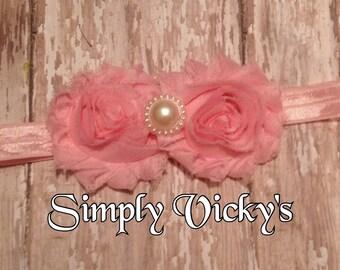 Pink Shabby Chic Hair Bow With Headband