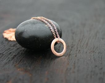 14k rose gold necklace.  Solid rose gold necklace. Rose gold circle necklace.  Minimalist rose gold necklace. Karma necklace.  Gift for her