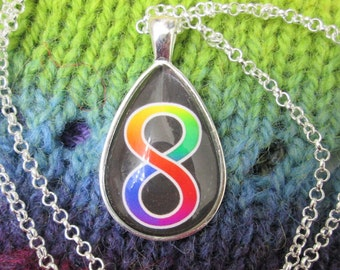 Neurodiversity Pride - Rainbow Infinity Pendant Necklace