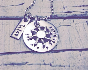 You are my sunshine, personalized, hand stamped, stainless steel necklace