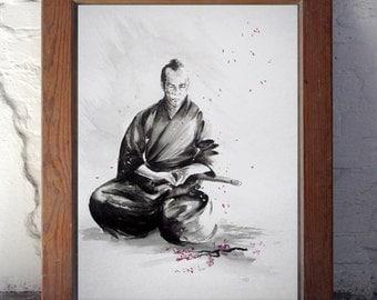 Samurai Art Print, Cherry Blossom Branch Image, Warrior Figurine Poster of my Watercolor Painting