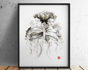 Geisha, Japanese Women, Oriental Girl, Asian Girl, Naked, Watercolor Painting, Ink Art, Surreal