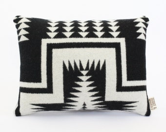 Geometric Wool Pillow // Mesa Black with White