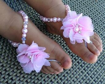 Pink Baby Barefoot Sandals, Flower Girl Barefoot Sandals, Christening Sandals, Baby Shower Gift, Kids Barefoot Sandals, Baptism Sandals