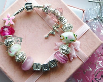 Mothers day charm bracelet pink blue green or lilac MUM personalized gift choice of size 7ins 8ins or 9ins  in gift pouch or gift box