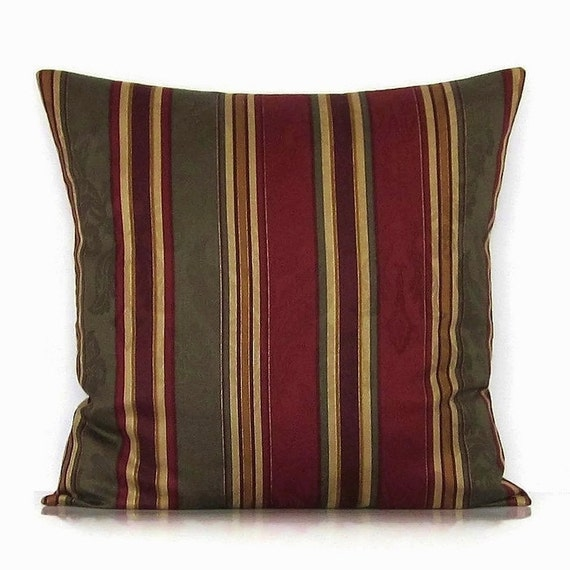 Stripe pillow cover burgundy olive marsala red gold decorative throw