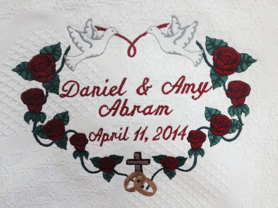 Personalized Anniversary Afghan, Anniversary Blanket, Embroidered Throw, Custom Keepsake, Wedding Gift, Couple's Gift