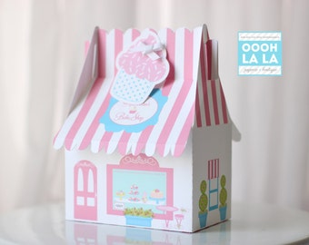 MADE TO ORDER Set of 6 Large Bakery-Themed Gable Favor Boxes
