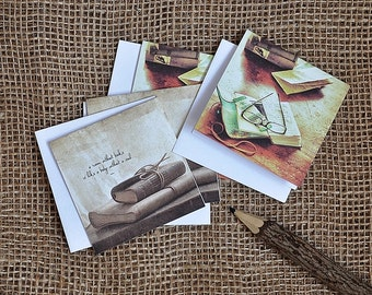 Set of 4 Small Greeting Cards (3x3) for Book Lovers, gift tag, brown, leather journals