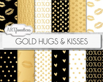 "Shimmering Gold Digital Papers ""GOLD HUGS & KISSES""  Gold backgrounds, kisses, hearts, kissing lips, xoxo for photographers, scrapbooking"