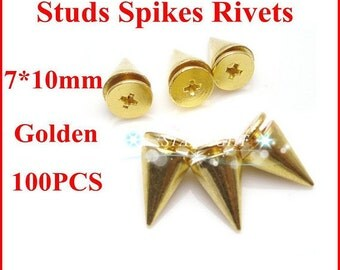 10MM gold Cone Spikes Screwback Studs Leathercraft DIY Goth Punk Steel Spots Bright Nickel Finish  & Free Shipping