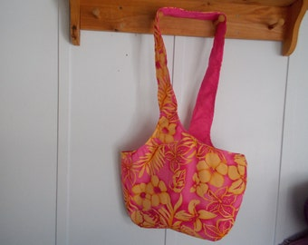 Hobo bag. Hot pink Hawaiian floral with yellow flowers and hot pink lined reversible
