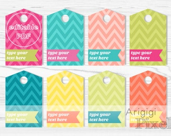 chevron hang tags - bright colors gift tag printable - personalized tag - editable PDF - type your text - edit text Word Docx