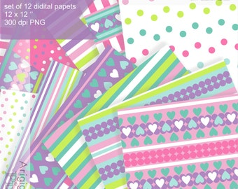 Easter background digital collage sheet, printable scrapbooking paper, colorful combo of strips dots hearts, download