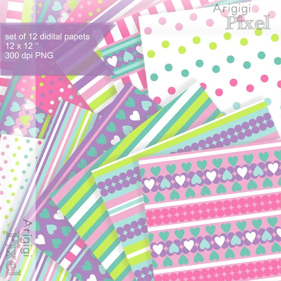 Easter digital collage sheet - combo of strips dots hearts - download