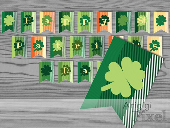Happy St Patrick's Day Printable Banner - green lucky clover party bunting - digital download - ready to print PDF file