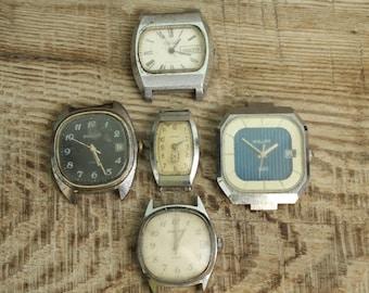 set of 5 NON-Working Vintage Soviet USSR watches