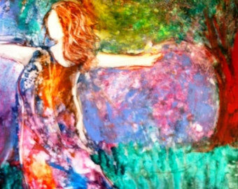 "Colorful Contemporary Cheerful Prophetic Painting of Woman Dancing ""I WIll Praise You"""