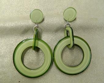 Vintage green lucite hoop earrings