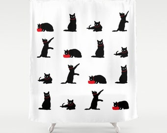 Cat Shower Curtain Black And White Cute Bathroom