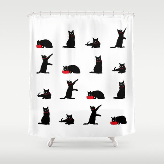 Shower Curtain, Black and White Shower Curtain, Cute Shower Curtain ...
