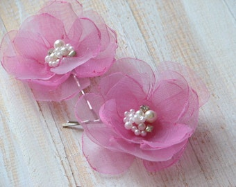 Set of 2 pink hair flowers Pink hair clips Pink wedding flower Pink hair pins Organza pink flower Pink wedding Pink organza flower 2 flowers
