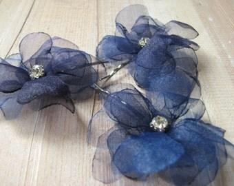 Navy blue hair flower Navy blue hair pins Navy headpiece Navy blue wedding Navy wedding flowers Navy blue clips Something blue Blue pin