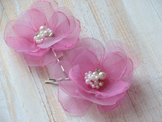 Wedding Hair Flowers Pink : Set of pink hair flowers clips wedding flower