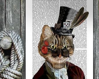 Steampunk Cat Phileas Feline, cat gift for cat lover, cat poster cat wall decor, cat print tabby cat illustration, wall art, cat decor