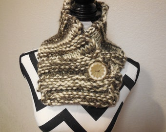 ONLY ONE Winter Knit Cowl in Brown Mix and Cream