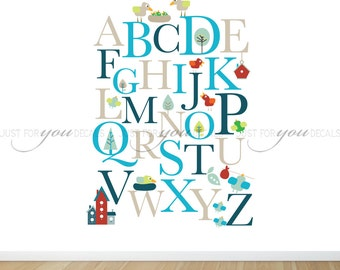 Alphabet Wall Decal, Alphabet Wall Decal, Nursery Wall Sticker, Animal Nursery Wall Decal, Playroom Wall Decal Playroom Wall Sticker 01-0001