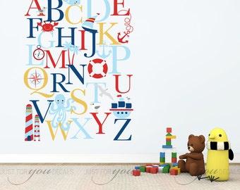 Alphabet Wall Decal - Alphabet Decal - Nautical Nursery Wall Decals - Playroom Wall Decal - Play Room Wall Decal - Wall Sticker - 01-0035A