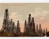 Beaumont, Texas, Spindle Top oil field, vintage postcard
