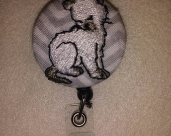 Embroidered kitten retractable badge holder reel