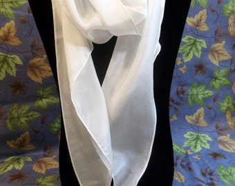 Vintage Vera Neumann Pure Silk Scarf.  Ivory.  Oblong.  Wing Tip.  Made in Japan.