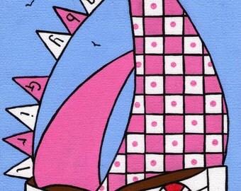 Baby Girl Boat greeting card