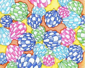 Shells bright and colourful greeting card