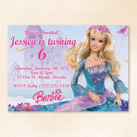 Barbie Birthday Party Invitation Digital by DianesDigitalDesigns