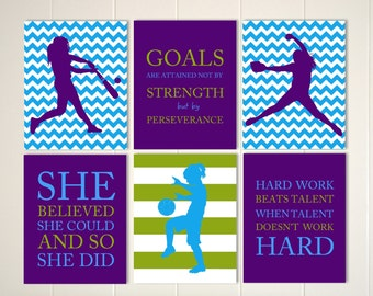 Softball pitcher, softball batter, soccer girl, softball room decor, soccer room decor, choose your sports and colors, set of 6