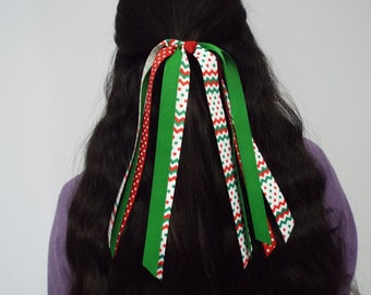 Christmas Chevron-Polka Dot Ponytail Streamer