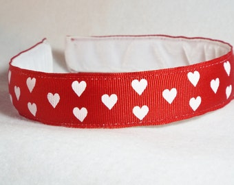 Red with White Hearts Headband