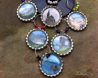 Castles of Scotland wine glass charms