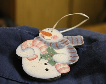 Wooden Snowman Ornament - with Candy Cane
