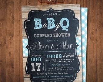 Baby Shower invitation. Baby Q.  Barbecue Chalkboard Invitation. Girls and boys. DIY card. Digital Printable card