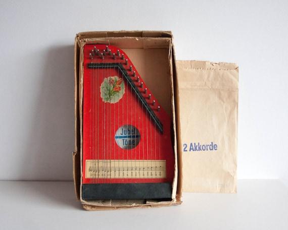vintage zither harp jubel tone kids music toy german vintage